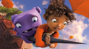 (l-r) Oh (voiced by Jim Parsons) and Tip (voiced by Rihanna) in DreamWorks Animation's HOME. ©DreamWorks Animations.