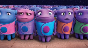 Oh (Jim Parsons), in blue, is a Boov who longs for friendships with other relationship-phobic Boov. ©DreamWorks Animation.