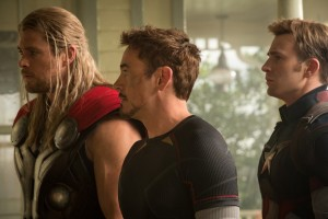 (l-r) Thor (Chris Hemsworth), Iron Man/Tony Stark (Robert Downey Jr.) and Captain America/Steve Rogers (Chris Evans) in MARVEL'S AVENGERS: AGE OF ULTRON. ©Marvel. CR: Jay Maidment.