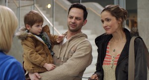 (l-r) Caleb and Matthew Paddock, Nick Kroll, and Rose Byrne in ADULT BEGINNERS. ©Radius.