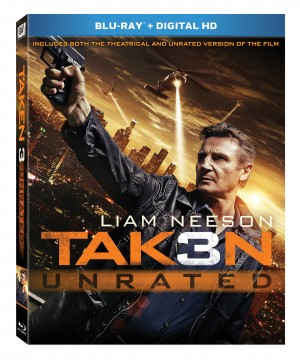 TAKEN 3 (Blu-ray / DVD cover art). ©20th Century Fox.