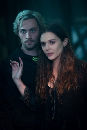 (l-r) Quicksilver/Pietro Maximoff (Aaron Taylor-Johnson) and Scarlet Witch/Wanda Maximoff (Elizabeth Olsen) in MARVEL'S AVENGERS: AGE OF ULTRON. ©Marvel. CR: Jay Maidment.