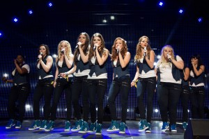 (L to R) Cynthia Rose (ESTER DEAN), Ashley (SHELLEY REGNER), Jessica (KELLEY ALICE JAKLE), Emily (HAILEE STEINFELD), Beca (ANNA KENDRICK), Chloe (BRITTANY SNOW), Stacie (ALEXIS KNAPP), Fat Amy (REBEL WILSON) and Lilly (HANA MAE LEE) are the Barden Bellas in PITCH PERFECT 2. ©Universal Pictures. CR: Richard Cartwright.