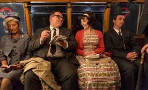 (center, l-r) Jeremy Sloane (Nick Frost) and Janet (Olivia Colman) in a acene from MR. SLOANE. ©Big Talk/BSKYB. CR: Colin Hutton.