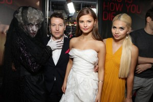(l-r) The woman in black, Leigh Whannell, Stefanie Scott and Hayley Kiyoko at the premiere of INSIDIOUS: CHAPTER 3 held at the TCL Chinese Theatre in Hollywood, CA on Thursday, June 4, 2015. ©Focus Features. CR: Eric Charbonneau.
