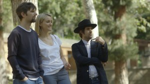 (l-r) Adam Scott, Taylor Schilling and Jason Scwartzman in THE OVERNIGHT. ©Sundance Institute.
