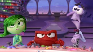 Disgust (Mindy Kaling), Anger (Lewis Black) and Fear (Bill Hader) must cope with unexpectedly being in command of Headquarters in Disney•Pixar's INSIDE OUT. ©Disney/Pixar.
