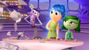 (L-R): Fear, Joy, and Disgust in INSIDE OUT. Directed by Pete Docter and produced by Jonas Rivera. ©2015 Disney•Pixar.