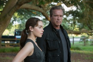 Left to right: Emilia Clarke plays Sarah Connor and Arnold Schwarzenegger plays the Terminator in TERMINATOR GENISYS. ©Paramount Pictures. CR: Melinda Sue Gordon.