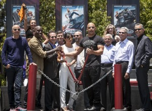 "The cast of ""Fast and Furious"" along with Universal executive ready to cut the chain ribbon at the ""Fast and Furious - Supercharged"" world premiere held at the Universal Studios Back lot. ©Universal Studios. CR: David Sprague."