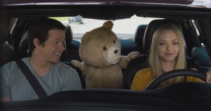 (l-r) John (MARK WAHLBERG), Ted (SETH MACFARLANE) and Samantha (AMANDA SEYFRIED) hit the road in TED 2. ©Tippett Studio/Universal Pictures and Media Rights Capital.