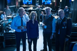 "(L-R): Victor Garber as The Vice-President, Felicity Huffman as The CIA Director, Jim Broadbent as Herbert and Ted Levine as General Underwood in the action film ""BIG GAME."" ©EuropaCorp."