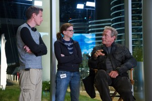 Left to right: Producer David Ellison, Producer Dana Goldberg, and Arnold Schwarzenegger on set of TERMINATOR GENISY. ©Paramount Pictures. CR: Melinda Sue Gordon.