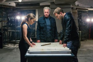 Left to right: Emilia Clarke plays Sarah Connor, Arnold Schwarzenegger plays the Terminator, and Jai Courtney plays Kyle Reese in TERMINATOR GENISYS. ©Paramount Pictures. CR: Melinda Sue Gordon.