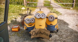 (L to R) BOB, KEVIN and STUART need a ride to Villain-Con in MINIONS. ©Universal Studios.