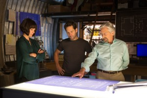 (L to R): Hope Van Dyne (Evangeline Lilly), Scott Lang/Ant-Man (Paul Rudd) and Hank Pym (Michael Douglas) in MARVEL'S ANT-MAN. ©Marvel. CR: Zade Rosenthal.