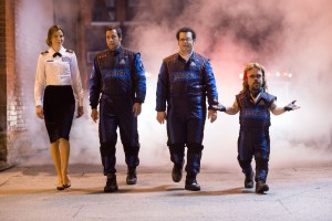 Violet (Michelle Monaghan), Brenner (Adam Sandler), Ludlow (Josh Gad) and Eddie (Peter Dinklage) arrive outsde the Command Center in Columbia Pictures' PIXELS. ©CTMG. CR: George Kraychyk.