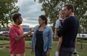 (l-r.) Director Tarsem Singh, actress Natalie Martinez, actress Jaynee-Lynne Kinchen, and actor Ryan Reynolds on location for Gramercy Pictures' provocative psychological science fiction thriller  SELF/LESS. ©Gramercy Pictures. CR: Hilary Bronwyn Gayle .