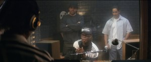 (L to R) Eazy-E (JASON MITCHELL) raps while Ice Cube (O'SHEA JACKSON, JR.), Dr. Dre (COREY HAWKINS) and DJ Yella (NEIL BROWN, JR.) listen in STRAIGHT OUTTA COMPTON. ©Universal Studios.