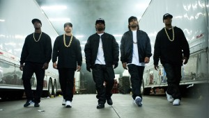 (L to R) MC Ren (ALDIS HODGE), DJ Yella (NEIL BROWN, JR.), Eazy-E (JASON MITCHELL), Ice Cube (O'SHEA JACKSON, JR.) and Dr. Dre (COREY HAWKINS) in STRAIGH OUTTA COMPTON. ©Universal Studios. CR Jaimie Trueblood.