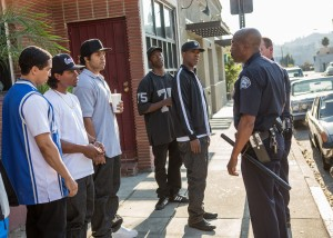 (L to R) DJ Yella (NEIL BROWN, JR.), Eazy-E (JASON MITCHELL), Ice Cube (O'SHEA JACKSON, JR.), MC Ren (ALDIS HODGE) and Dr. Dre (COREY HAWKINS) are harassed by the police in STRAIGHT OUTTA COMPTON. ©Universal Studios. CR: Jaimie Trueblood.