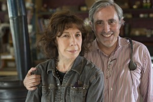 Lily Tomlin and Writer/Director Paul Weitz on the set of GRANDMA. ©Sony Pictures Classics. CR: Glen Wilson.