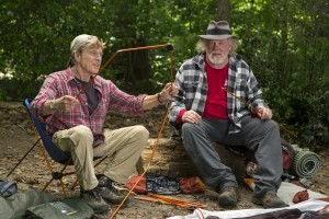 (l to r) Robert Redford stars as Bill Bryson and Nick Nolte as Stephen Katz taking in the view along the Appalachian Trail in Broad Green Pictures upcoming release, A WALK IN THE WOODS. ©Broad Green Pictures. CR: Frank Masi, SMPSP / Broad Green Pictures