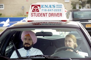 (l to r) Ben Kingsley stars as Darwan and Patricia Clarkson as Wendy in Broad Green Pictures LEARNING TO DRIVE. ©Broad Green Pictures. CR: Linda Kallerus/Broad Green Pictures