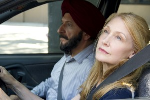 (l to r) Ben Kingsley stars as Darwan and Patricia Clarkson as Wendy in Broad Green Pictures upcoming release, LEARNING TO DRIVE. ©Broad Green Pictures. CR: Linda Kallerus/Broad Green Pictures