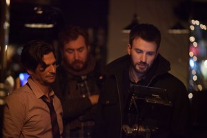 (l-r) Mark Kassen and Chris Evans on the set of BEFORE WE GO. ©Radius.