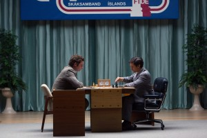 Liev Schreiber (left) stars as Boris Spassky and Tobey Maguire (right) stars as Bobby Fischer in Edward Zwick's PAWN SACRIFICE. ©Bleecker Street.