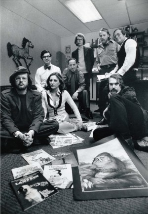 Henry Beard, Michael Gross, Matty Simmons, Brian McConnachie, Len Mogel , Michael O'Donoghue, Barbara Atti, and David Kaestle in DRUNK STONED BRILLIANT DEAD: THE STORY OF THE NATIONAL LAMPOON. ©Magnolia Pictures.