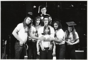 Garry Goodrow, Peter Elbling, Chevy Chase, Christopher Guest, John Belushi, Mary-Jennifer Mitchell and Alice Peyton in DRUNK STONED BRILLIANT DEAD: THE STORY OF THE NATIONAL LAMPOON. ©Magnolia Pictures. CR: National Lampoon.