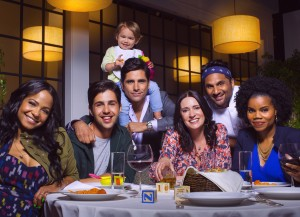 L-R: Christina Milian as Vanessa, Josh Peck as Gerald, John Stamos as Jimmy, Paget Brewster as Sara, Ravi Patel as Ken and Kelly Jenrette as Annelise in GRANDFATHERED. ©Fox. CR: Robert Trachtenberg/FOX.
