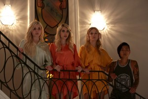 "(L-R) Abigail Breslin as Chanel #5, Emma Roberts as Chanel Oberlin, Billie Lourd as Chanel #3 and Jeanna Han as Sam in the ""Chainsaw"" episode of SCREAM QUEENS. ©2015 Fox Broadcasting Co. Cr: Patti Perret/FOX."