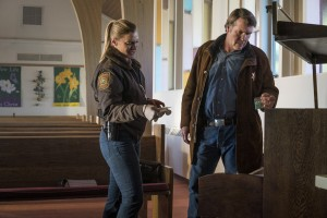 (l-r) Katee Sackhoff and Robert Taylor star in LONGMIRE. ©Netflix. CR: Lewis Jacobs/Netflix.