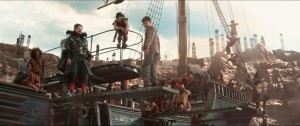 (center,l-r) Hugh Jackman as Blackbeard, Bronson Webb as Steps and Levi Miller as Peter Pan in PAN. ©Warner Bros. Entertainment.