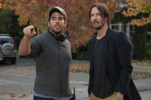 (l-r) Director Eli Roth and Keanu Reeves on the set of KNOCK KNOCK. ©Lionsgate Entertainment.