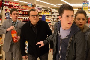 (l-r) Ryan Lee, Jack Black, Dylan Minnette and Odeya Rush star in Columbia Pictures' GOOSEBUMPS. ©CTMG. CR: Hopper Stone/SMPSP.