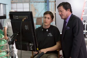 (l-r) Director David Gordon Green and Joaquim De Almeida on the set of oUR BRAND IS CRISIS. Produced by George Clooney. ©Warner Bros. Entertainment/Ratpac Dune Entertainment. CR: Patti Perret.