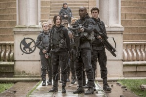 Peeta Mellark (Josh Hutcherson , far left), Katniss Everdeen (Jennifer Lawrence, center left), Boggs (Mahershala Ali, center right) and Gale Hawthorne (Liam Hemsworth, far right) in THE HUNGER GAMES: MOCKINGJAY - PART 2. ©Lionsgate Entertainment. cR: Murray Close.