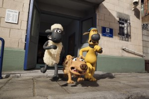 'Shaun' (left), 'Slip' (center) and 'Bitzer' (right) in SHAUN THE SHEEP MOVIE. ©Lionsgate Entertainment.