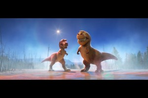 Dinosaurs ready to fight in THE GOOD DINOSAUR. ©Disney/Pixar.