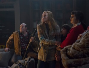 (L to R) Howard (DAVID KOECHNER), Sarah (TONI COLLETTE), Max (EMJAY ANTHONY) and Linda (ALLISON TOLMAN) in KRAMPUS. ©Legendary Pictures/Universal Studios. CR: Steve Unwin.