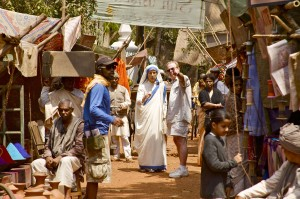(center,l-r) Juliet Stevenson as Mother Teresa with Director William Riead on the set of THE LETTERS: THE EPIC LIFE STORY OF MOTHER TERESA. ©Freestyle Releasing. CR: Freda Eliot-Wilson.
