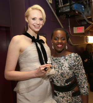 (l0r) Actresses Gwendoline Christie (L) and Lupita Nyong'o attend the World Premiere of STAR WARS: THE FORCE AWAKENS at the Dolby, El Capitan, and TCL Theatres on December 14, 2015 in Hollywood, California.  CR: Jesse Grant/Getty Images for Disney.