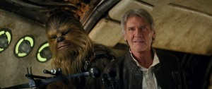 (l-r) Chewbacca (Peter Mayhew) and Han Solo (Harrison Ford) in STAR WARS: THE FORCE AWAKENS. ©Lucasfilm.