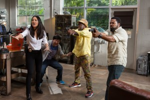 (L to R) OLIVIA MUNN as Maya, KEN JEONG as AJ, KEVIN HART as Ben and ICE CUBE as James star in RIDE ALONG 2. ©Universal Pictures. CR: Quantrell D. Colbert.