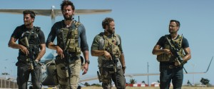 "Left to Right: Pablo Schreiber plays Kris ""Tanto"" Paronto, John Krasinski plays Jack Silva, David Denman plays Dave ""Boon"" Benton and Dominic Fumusa plays John ""Tig"" Tiegen in13 HOURS: THE SECRET SOLDIERS OF BENGHAZI. ©Paramount Pictures."