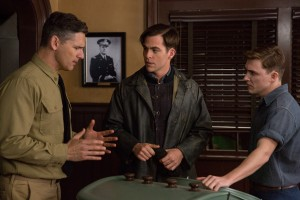 (l-r) Eric Bana is Warrant Officer Daniel Cluff, Chris PIne is Bernie Webber and Kyle Gallner is Andy Fitzgerald in Disney's THE FINEST HOURS. ©Disney Enterprises. CR: Claire Folger.